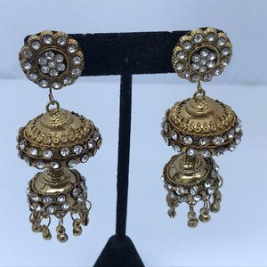 Jhumka Earrings Gold Tone Crystals Accents Fashion
